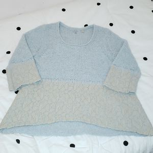 Anthropologie Hi-low sweater Baby blue and cream l
